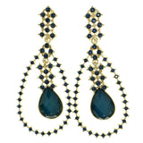 Blue & Gold-Tone Colored Metal Drop-Dangle-Earrings With Crystal Accents #1768