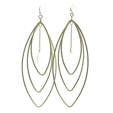 Gold-Tone & Clear Colored Metal Dangle-Earrings With Faceted Accents #561