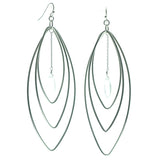 Silver-Tone Metal Dangle-Earrings With Bead Accents #563