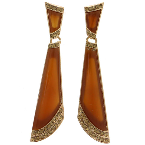 Brown & Gold-Tone Colored Metal Drop-Dangle-Earrings With Crystal Accents #1780