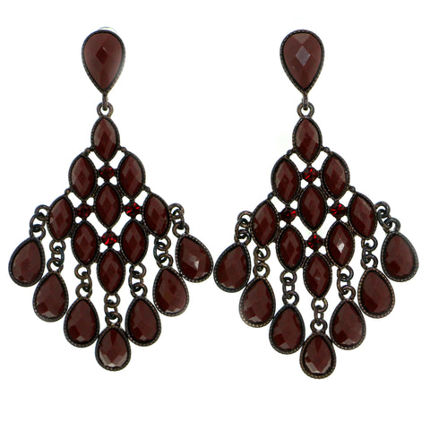 Red Metal Drop-Dangle-Earrings With Crystal Accents #1782