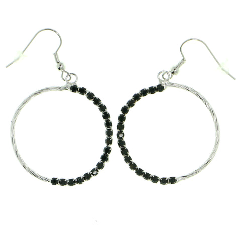 Black & Silver-Tone Colored Metal Dangle-Earrings With Crystal Accents #1783