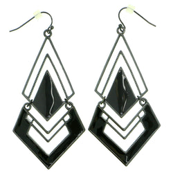 Gray & Black Colored Metal Dangle-Earrings #1794