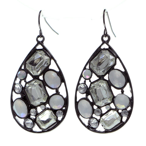 Silver-Tone & White Colored Metal Dangle-Earrings With Crystal Accents #564