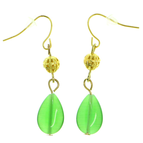 Green & Gold-Tone Colored Metal Dangle-Earrings With Bead Accents #1800