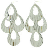 Silver-Tone Metal Dangle-Earrings #1804