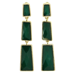Green & Gold-Tone Colored Metal Drop-Dangle-Earrings With Bead Accents #1812 - Mi Amore