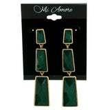 Green & Gold-Tone Colored Metal Drop-Dangle-Earrings With Bead Accents #1812