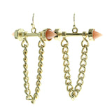 Gold-Tone & Pink Colored Metal Dangle-Earrings With Stone Accents #566