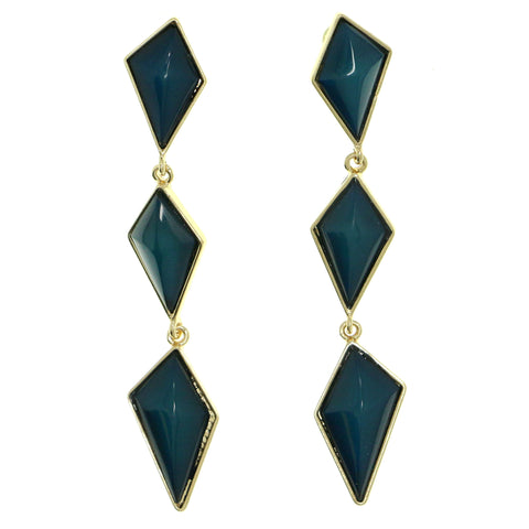 Gold-Tone & Blue Colored Metal Drop-Dangle-Earrings With Bead Accents #1815