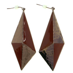 Colorful & Bronze-Tone Colored Metal Dangle-Earrings #1816