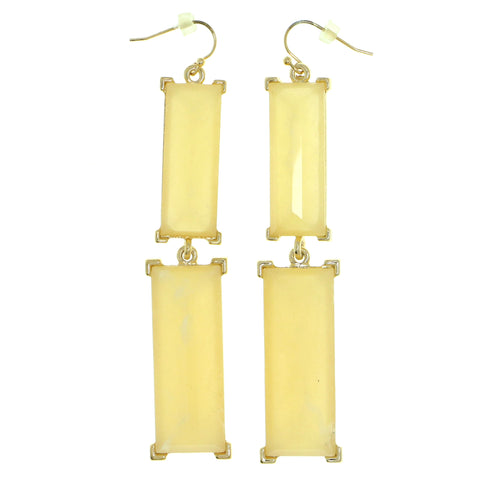 Gold-Tone & Yellow Colored Metal Dangle-Earrings With Bead Accents #1818