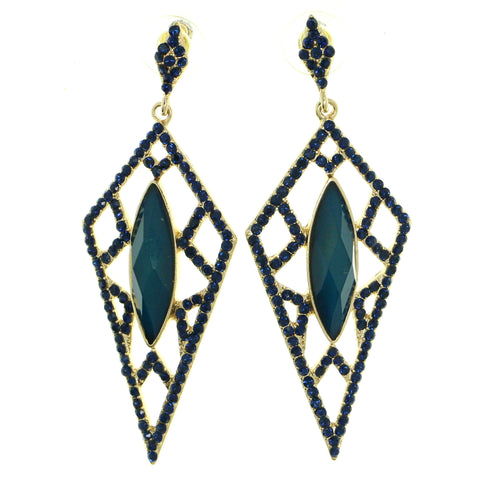Gold-Tone & Blue Colored Metal Drop-Dangle-Earrings With Crystal Accents #1819