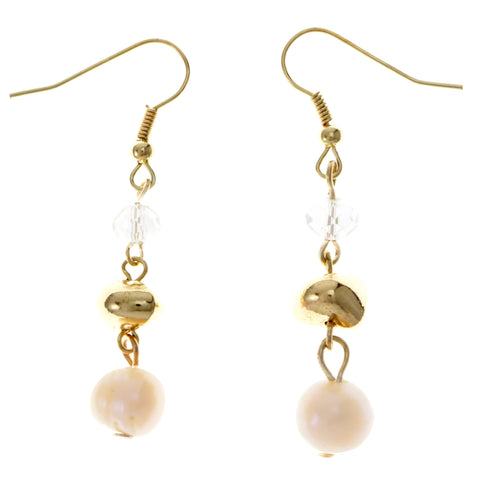 Gold-Tone & Peach Colored Metal Dangle-Earrings With Bead Accents #1821