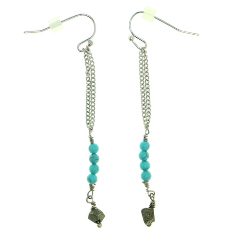 Blue & Silver-Tone Colored Metal Dangle-Earrings With Bead Accents #1827