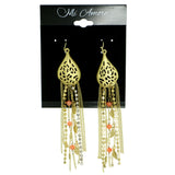 tassel Dangle-Earrings With Crystal Accents Gold-Tone & Peach Colored #1829