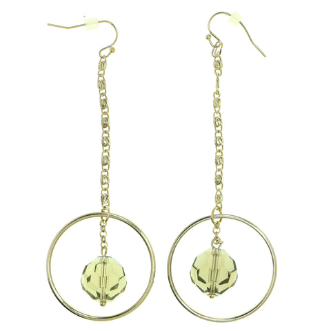 Gray & Gold-Tone Colored Metal Dangle-Earrings With Bead Accents #1830