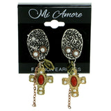 cross Drop-Dangle-Earrings With Bead Accents Colorful & Tri-Tone Colored #1831