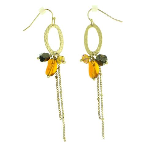Gold-Tone & Brown Colored Metal Dangle-Earrings With Bead Accents #1838