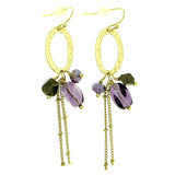 Gold-Tone & Purple Colored Metal Dangle-Earrings With Bead Accents #1839
