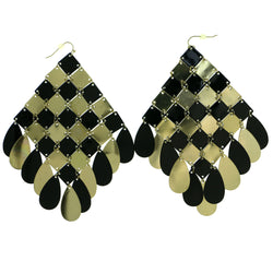 Gold-Tone & Black Colored Metal Dangle-Earrings With Drop Accents #1842
