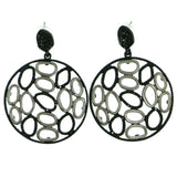 Silver-Tone & Black Colored Metal Drop-Dangle-Earrings With Crystal Accents #1844