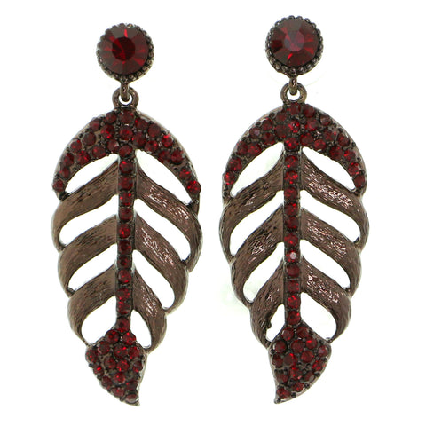 Red Metal Drop-Dangle-Earrings With Crystal Accents #1847