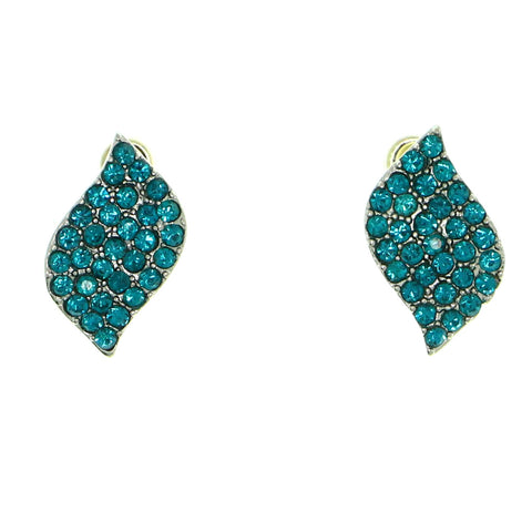 leaf Stud-Earrings With Crystal Accents Silver-Tone & Blue Colored #1856