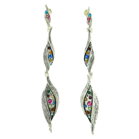 Silver-Tone & Multi Colored Metal Drop-Dangle-Earrings With Crystal Accents #1858