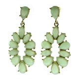 Gold-Tone & Green Colored Metal Dangle-Earrings With Faceted Accents #569