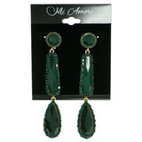 Green & Gold-Tone Colored Metal Drop-Dangle-Earrings With Crystal Accents #1861