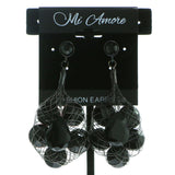 Net Dangle-Earrings With Faceted Accents  Black Color #570