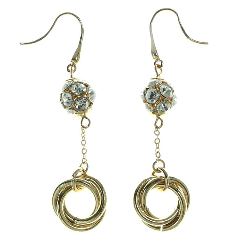 Gold-Tone Metal Drop-Dangle-Earrings With Crystal Accents #1874