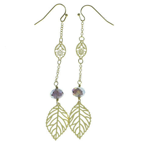 Leaf Drop-Dangle-Earrings With Faceted Accents Gold-Tone & Purple Colored #1887
