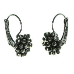 Gray Metal Dangle-Earrings With Crystal Accents #1891