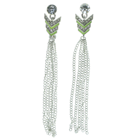 Silver-Tone & Green Colored Metal Drop-Dangle-Earrings With Tassel Accents #1892