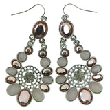 Silver-Tone & Pink Colored Metal Dangle-Earrings With Faceted Accents #1895