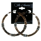 Bronze-Tone Metal Hoop-Earrings With Crystal Accents #1900
