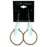 Gold-Tone & Blue Colored Metal Drop-Dangle-Earrings With Faceted Accents #1904