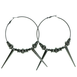 Spike Hoop-Earrings With Crystal Accents  Silver-Tone Color #1907