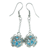 Filigree Drop-Dangle-Earrings With Faceted Accents Silver-Tone & Blue Colored #1912