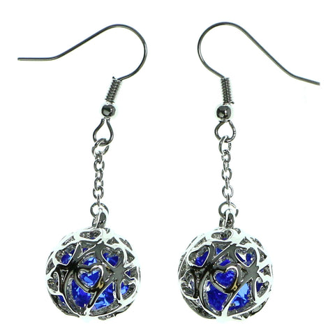 Filigree Dangle-Earrings With Faceted Accents Silver-Tone & Blue Colored #1914