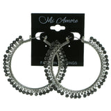 Silver-Tone & Gray Colored Metal Hoop-Earrings With Bead Accents #1917