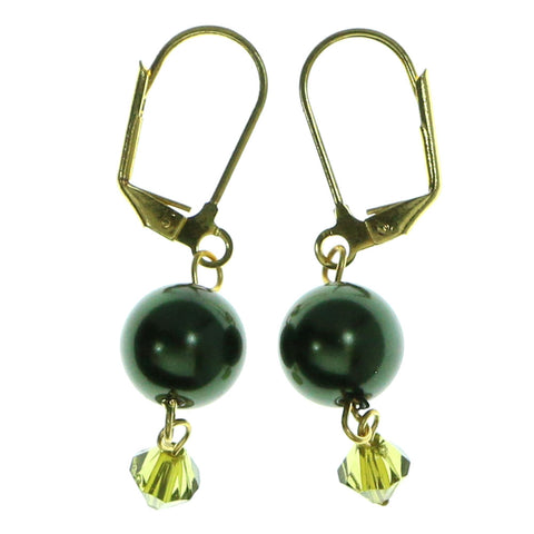 Gold-Tone & Green Colored Metal Dangle-Earrings With Bead Accents #1920