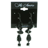 Gray & Black Colored Metal Drop-Dangle-Earrings With Faceted Accents #1921