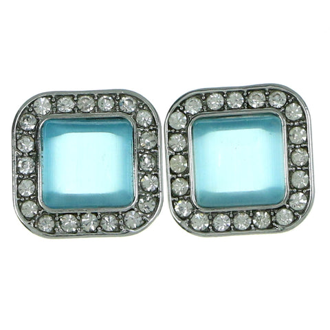 Silver-Tone & Blue Colored Metal Stud-Earrings With Crystal Accents #1924