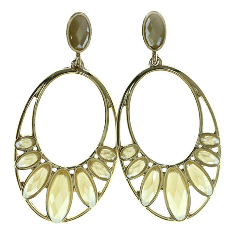 Gold-Tone & Yellow Colored Metal Drop-Dangle-Earrings With Faceted Accents #1926