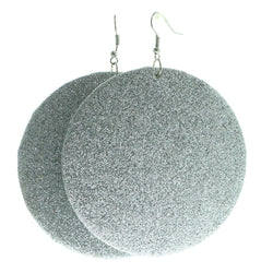 Glittery Dangle-Earrings Silver-Tone Color  #578