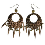 Bronze-Tone & Brown Colored Metal Drop-Dangle-Earrings With Drop Accents #1937