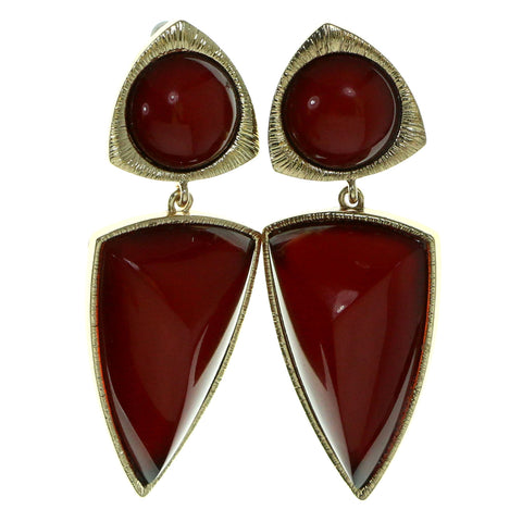 Gold-Tone & Red Colored Metal Drop-Dangle-Earrings With Stone Accents #1940